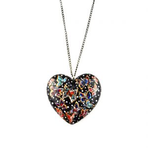 heart pendant black butterfly