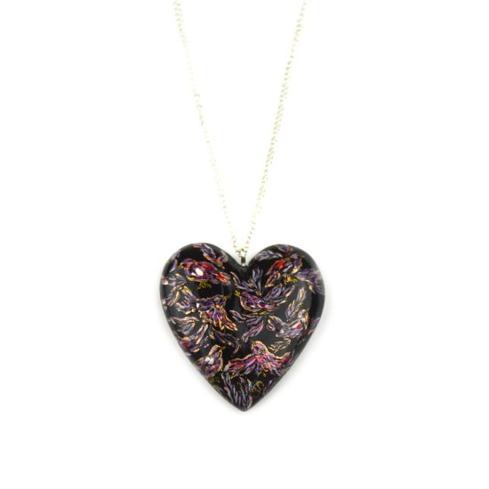 heart pendant black birds