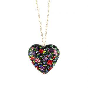 heart pendant black flowers