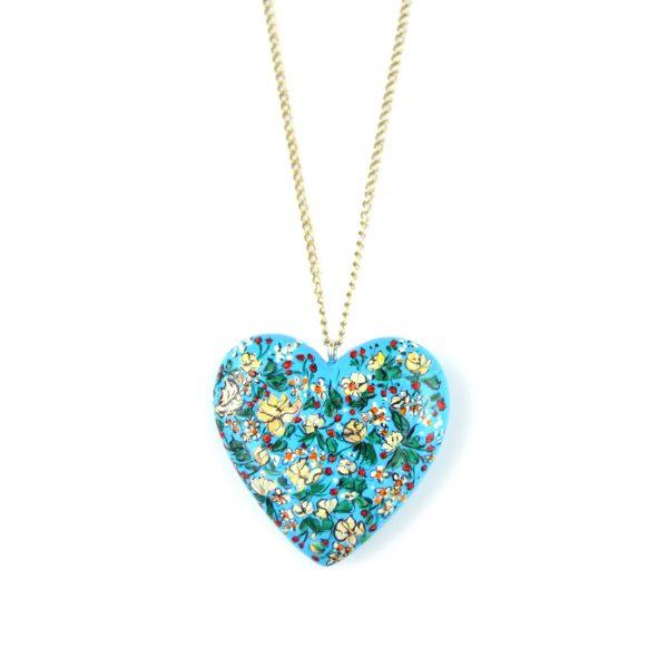 heart pendant light blue
