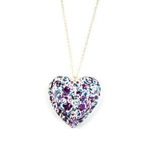 heart pendant white and purple